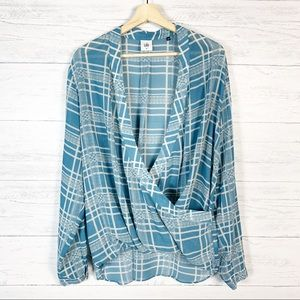 CAbi • Windowpane Plaid Wrap Blouse Top 3068 XL